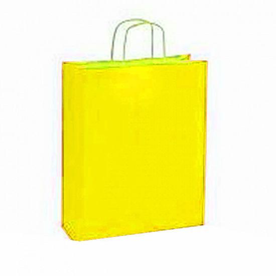 10 stuks Papieren draagtassen geel
